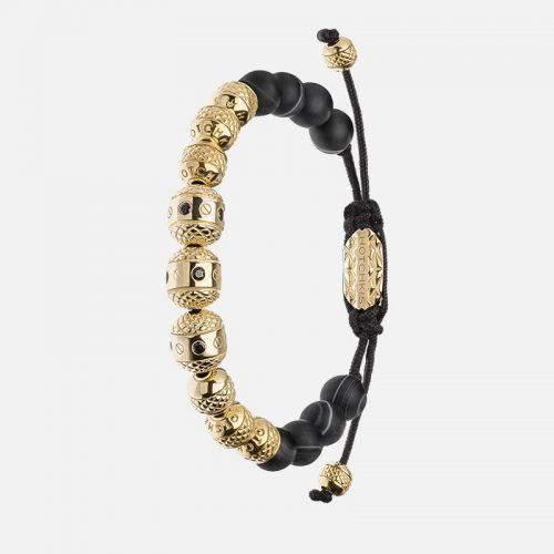 Черный браслет из натуральных камней с золотом 585 пробы