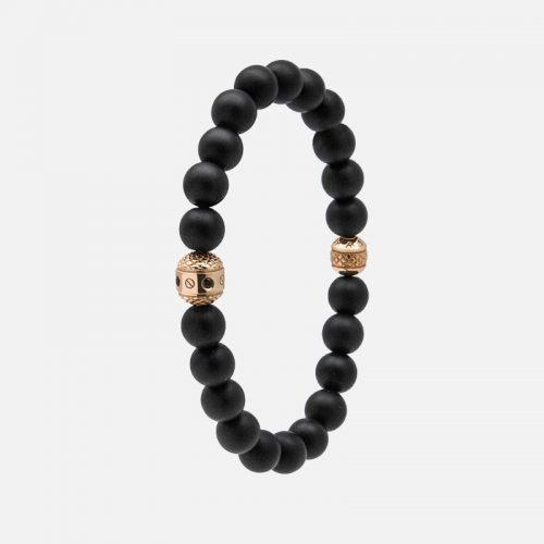Черный браслет из натуральных камней с золотом.