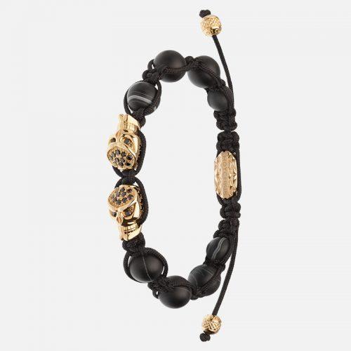 Браслет Hotchkis Gemini из натуральных камней с золотыми черепами