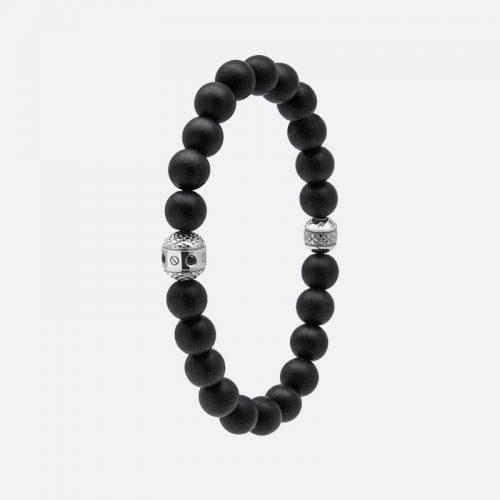 Черный браслет из натуральных камней с серебром