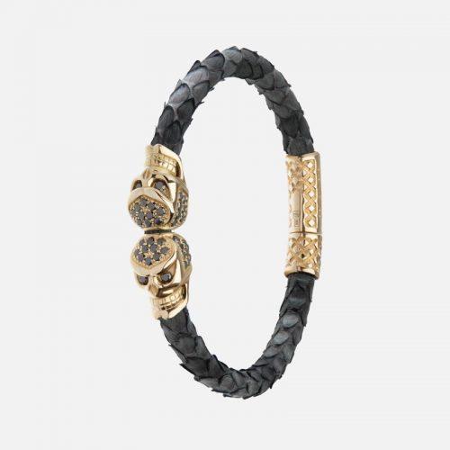 Черный браслет из кожи питона с черепами