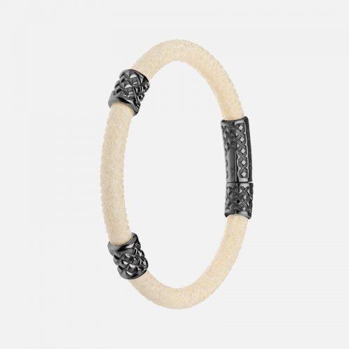 Браслет из кожи морского ската с серебром Hotchkis Jewelry