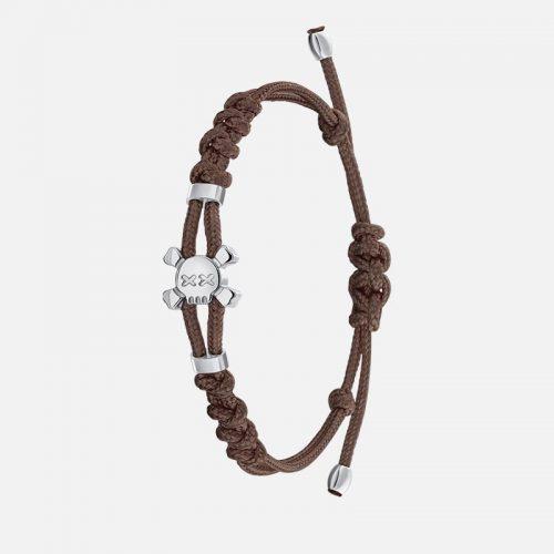 Стильный браслет на коричневой нити в белом золоте Hotchkis Jewelry
