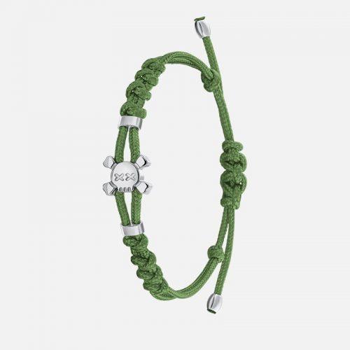 Стильный браслет на зеленой нити в белом золоте Hotchkis Jewelry