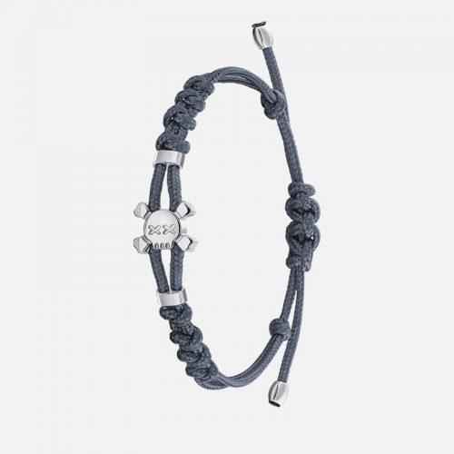 Стильный браслет на серой нити в белом золоте Hotchkis Jewelry